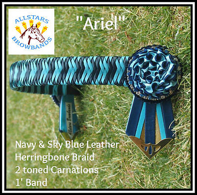 Navy & Sky Blue Leather Show Browband Cob Size
