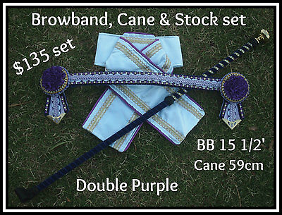 Browband, Cane and Stock Set in double purple, Full Size
