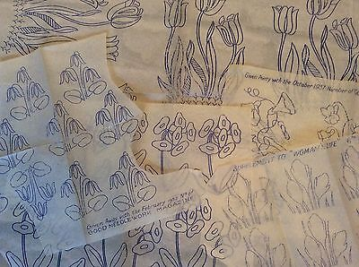 Vintage 1930s 40s Needlework Embroidery Transfers x4 Floral Flowers Etc   (1)