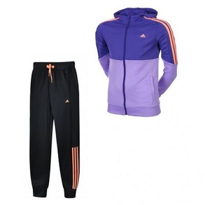 Junior Adidas Separates Polyester Tracksuit Purple/Black S21661 Various Sizes