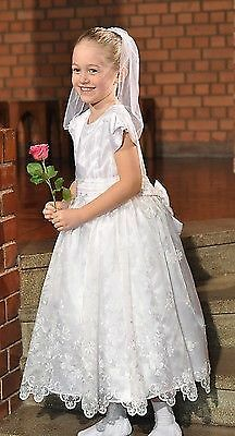 NEW WHITE  HOLY COMMUNION dresse OR PAGEANT ANKLE LENGTH 7/8 YEAR OLD uk seller
