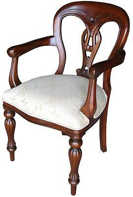 Solid Mahogany Admiralty Arm Chair / Dining Chair Cream Upholstery CHR006