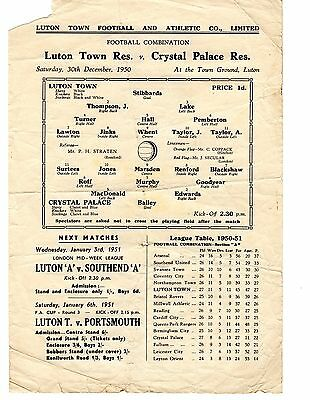 Luton Town v Crystal Palace Reserves Programme 30.12.1950