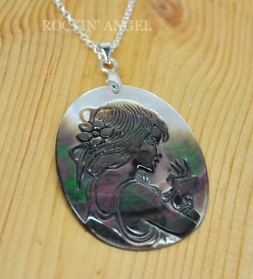 925 Silver & Abalone Shell Mother of Pearl Portrait Pendant Necklace Ladies Gift