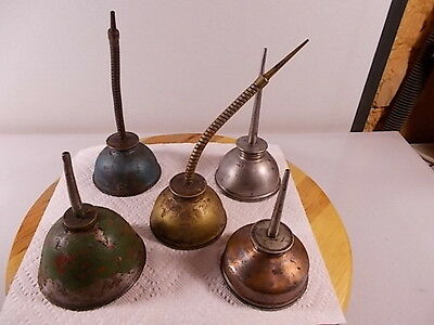 Lot of (5) Vintage Eagle oil cans pump oilers (3) Eagle (2) Unbranded All Old