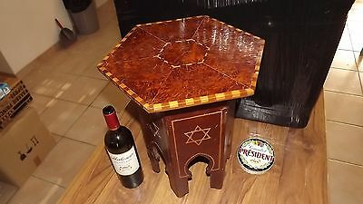 Antique Gueridon table Judaica North Africa marquetry Mahogany Art Deco oriental