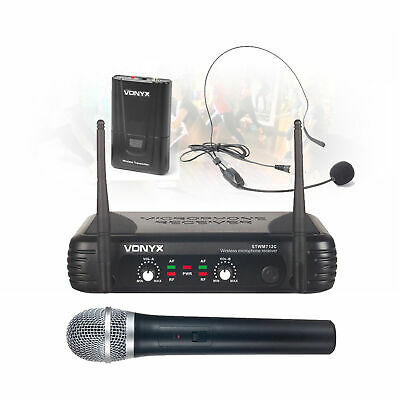 STWM712C 2-Channel Headset & Handheld Wireless Microphone DJ System Dual VHF Kit
