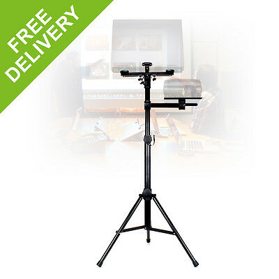 Vonyx Height Adjustable Universal Laptop Projector Stand 2 Level Wheeled Trolley