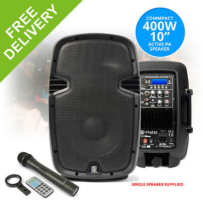 """10"""" Inch Active Powered Wireless Speaker Bluetooth VHF Mic Portable Battery USB"""