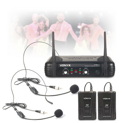 STWM712H 2-Channel Twin Headset Wireless Mic System VHF Dual Microphone DJ Kit