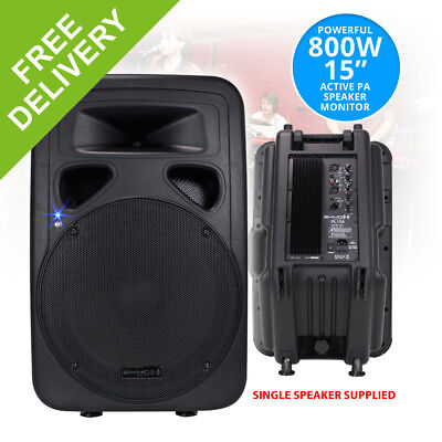 """PL15A 15"""" Inch Active Loud Speaker System DJ Stage Monitor PA ABS Cabinet 800W"""