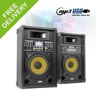 "Pair 8"" Inch Active Karaoke Party Speakers USB MP3 Home DJ Party Mic Inputs 600W"