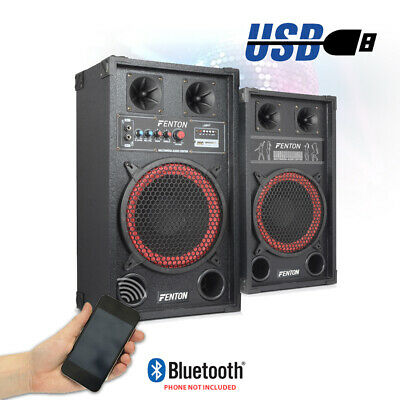 "Pair 10"" Inch Active Speakers Karaoke Party USB Plug & Play System Home DJ 600W"