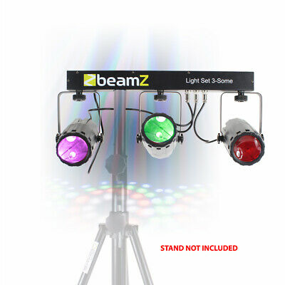 Beamz 3-Some 3x LED Moonflower Effect Light Rail DJ Party System Stand Mountable