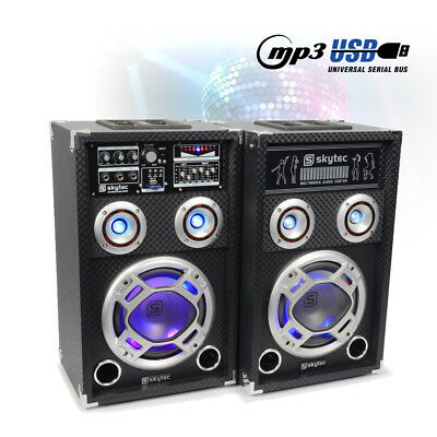 "Pair 8"" Inch Active Party Speakers RGB LED Glow Karaoke System Home DJ 600W"