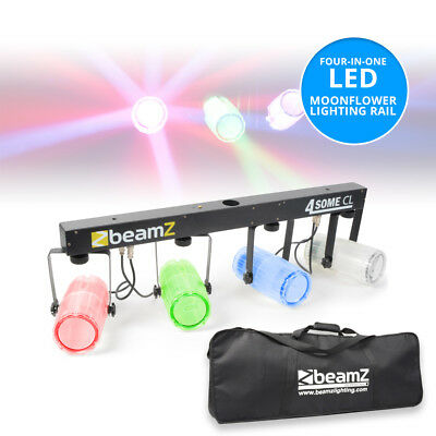 Beamz 4-Some 4x Clear Can LED Moonflower DMX Light Rail DJ Stand Mountable