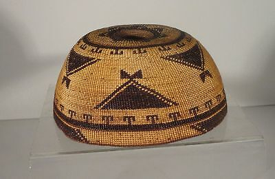 Antique  Native American  Hupa Woven Basketry Hat Northern California