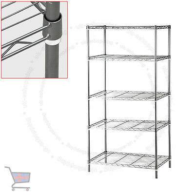 5 Tier Heavy Duty Steel Kitchen Garage Storage Shelving Shelf Rack UKES