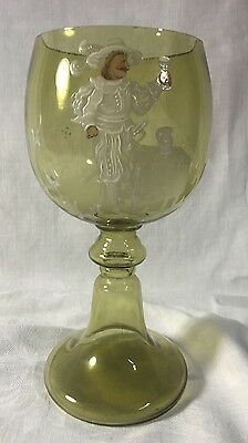 "Oversize Blown Glass Wine Goblet ~ Enameled ""Mary Gregory Sty;e"" Design ~Germany"