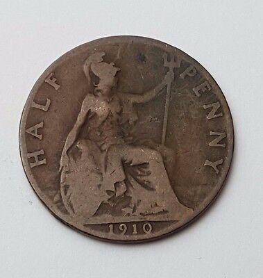 1910 - Copper - Half Penny - Great Britain - King Edward VII - English UK Coin