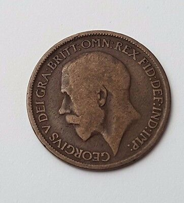 1917 - Copper - Half Penny - Great Britain - King George V - English UK Coin