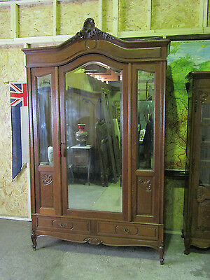 Superb bow top antique french carved oak armoire mirror door wardrobe circa 1890