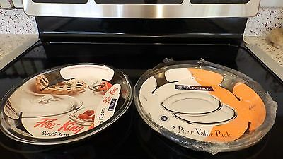 Lot of 2 Anchor Hocking Co. Clear Glass Pie Pans 9 inch New U.S.A.