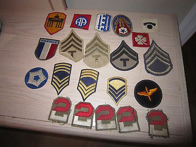 lot of 22 World War II Military Patches -2nd Airborne, ETO Advance base & more