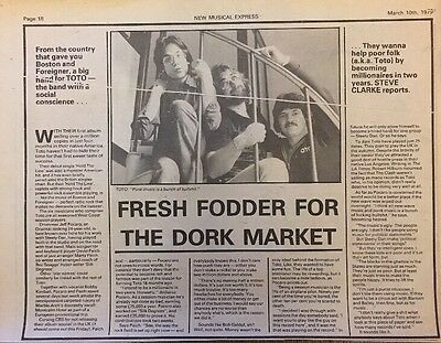 """TOTO PICTURE ARTICLE 1979 ORIGINAL ADVERT 10 X 8"""" APPROX ( 1970s )"""