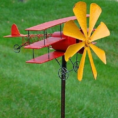 "Panacea Kinetic Art Airplane Windmill, Red/yellow, 72"" Tall"