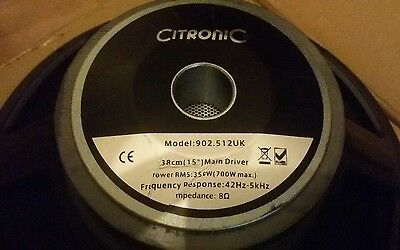 350W RMS 8 Ohm 15in Replacement Speaker Driver