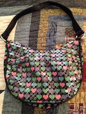 Justice Black Purse With Hearts And Sequins