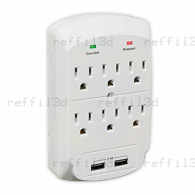 6 Outlet Space Saving Wall Tap with 2 USB Ports 2.4A 300 Joules - White