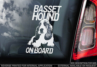 Basset Hound - Car Window Sticker - Dog Sign -V01