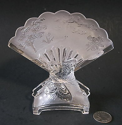 RARE Early BACCARAT Signed French Art Glass Frosted Crystal BUTTERFLY Fan Vase