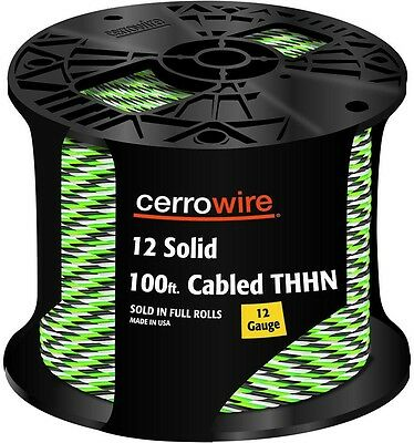 Cerrowire 100 ft. 12-3 Black White and Green Cabled Solid THHN Electrical Cable