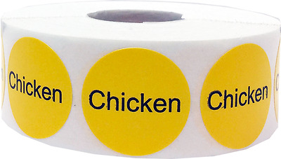 Yellow Deli Food Adhesive Stickers, 1 Inch Round Labels, 500 Total, 16 Options