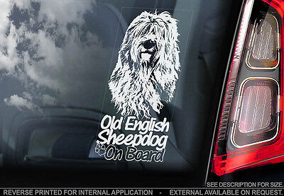 Old English Sheepdog - Car Window Sticker - Dog Sign -V01