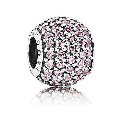 Genuine PANDORA Sterling Silver bead S925 ALE Pink Pave Ball Charm - 791051PCZ