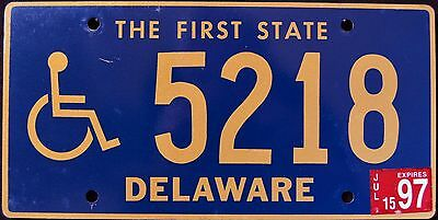 """DELAWARE """" THE FIRST STATE  - 5218 """" HANDICAPPED 1997 DE License Plate"""