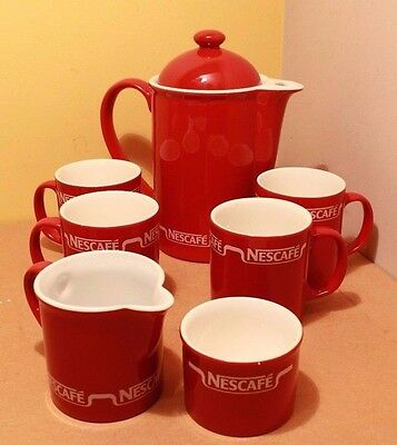 Vintage Red Nescafe Coffee Set 4 Cups Collectible Coffee Pot, Milk Jug & more