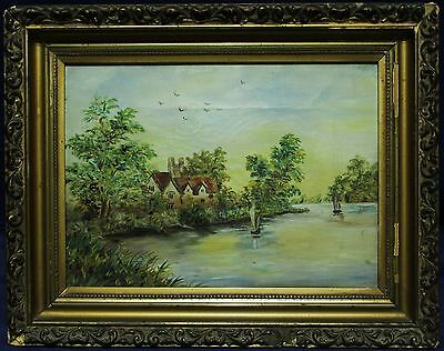 Antique Framed Oil Painting On Canvas - House By Lake - Circa 1888- Child Artist