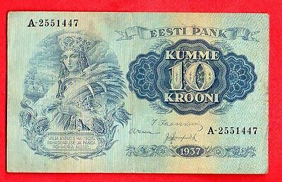ESTONIA 10 KROONI 1937 P # 67a WOMAN IN NATIONAL COSTUME 299