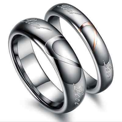 Fashion Tungsten steel His and Her promise love Wedding couple rings best gifts