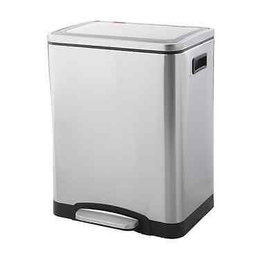 Dual Pedal Recycle Bin Stainless Steel 30L Kitchen Disposal Home Office Waste