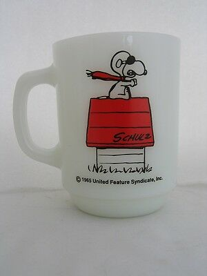 1965 Snoopy CURSE YOU, RED BARON! Milk Glass Mug