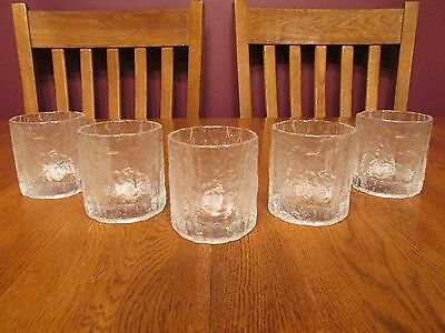 Five Gorgeous Hoya Japan Clear Glass Bark Icicle Textured Old Fashioned Glasses