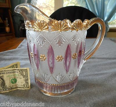 Rare Eapg Northwood Ruby W/ Gold Posies And Pods Water Pitcher