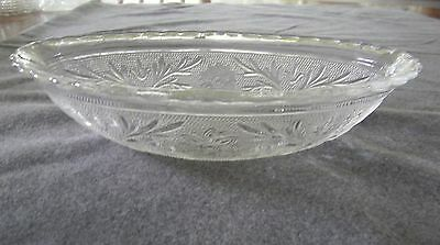 Vintage Anchor Hocking Clear Sandwich Pattern Oval Bowl Scalloped Edge