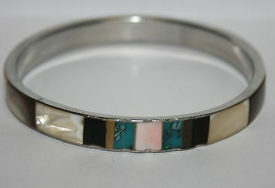 Vintage Silver Tone Mother of Pearl Green Brown White Bracelet Band Bangle